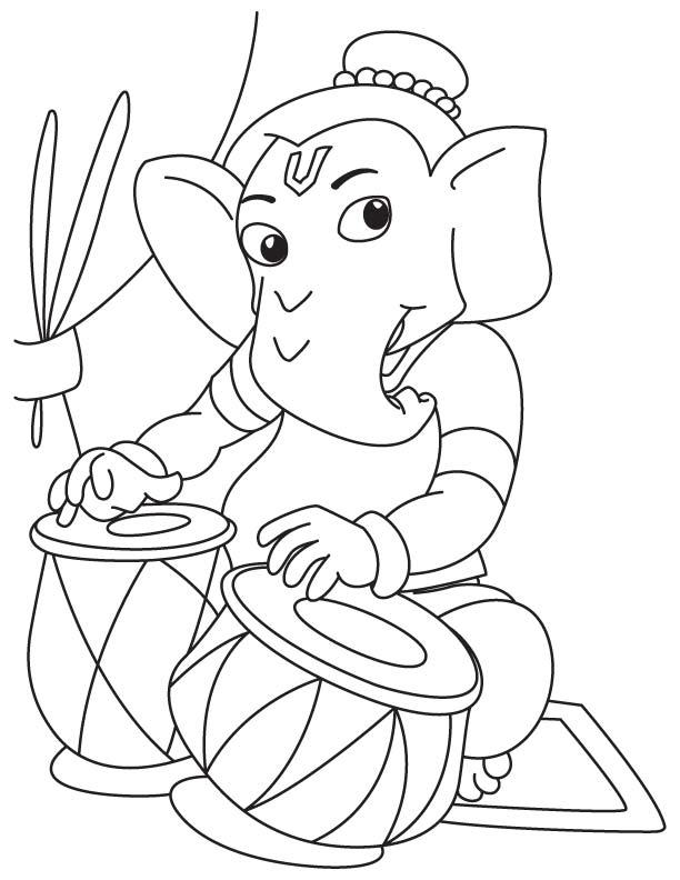 Lord ganesha playing tabla coloring