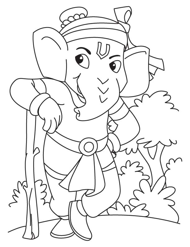 Lord ganesha standing coloring page : Download Free Lord ...