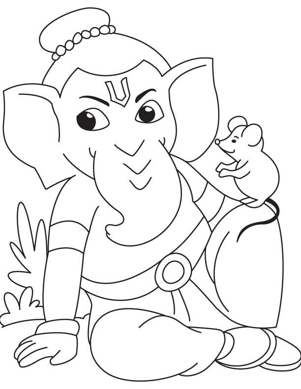 Lord ganesha with mouse coloring page | Download Free Lord ...