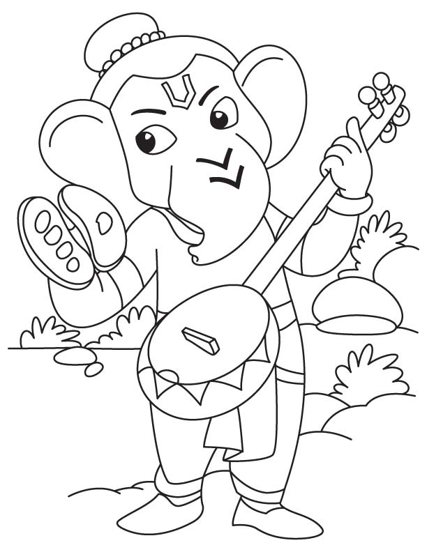Kleurplaat Ganesh Lord Ganesha With Sitar Coloring Page Download Free Lord
