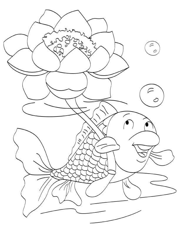 Lotus a holy flower coloring page