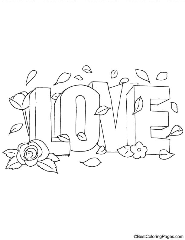 Love with rose coloring page