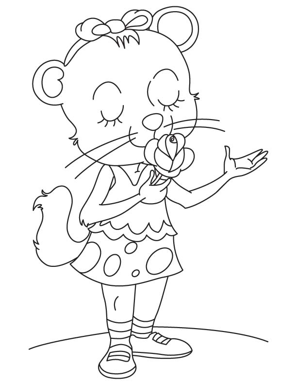 Lovely cat with rose coloring page