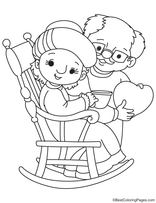 Loving grandparents coloring page