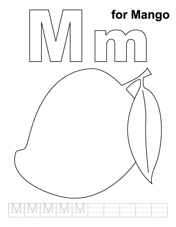 M for mango coloring page with handwriting practice
