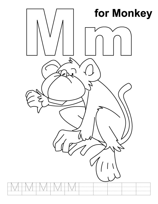 M for monkey coloring page with handwriting practice Download