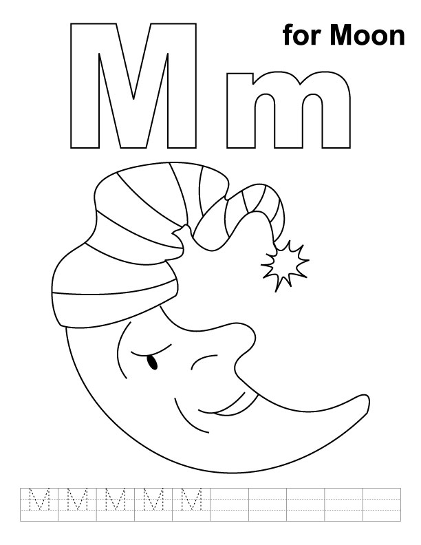 M for moon coloring page with handwriting practice