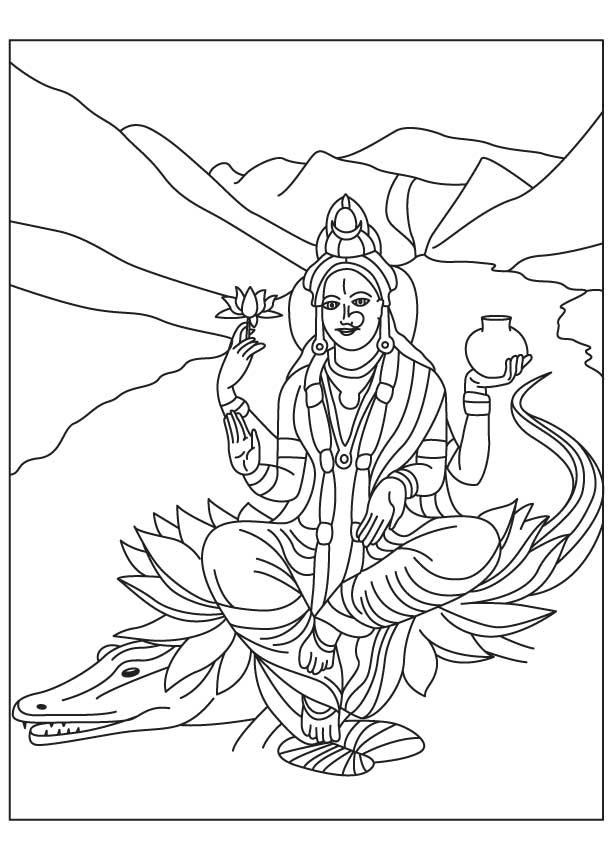 Maa Ganga Coloring Page Download Free Maa Ganga Coloring