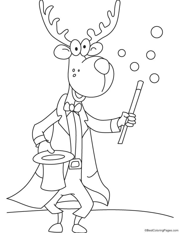 Magician reindeer coloring page