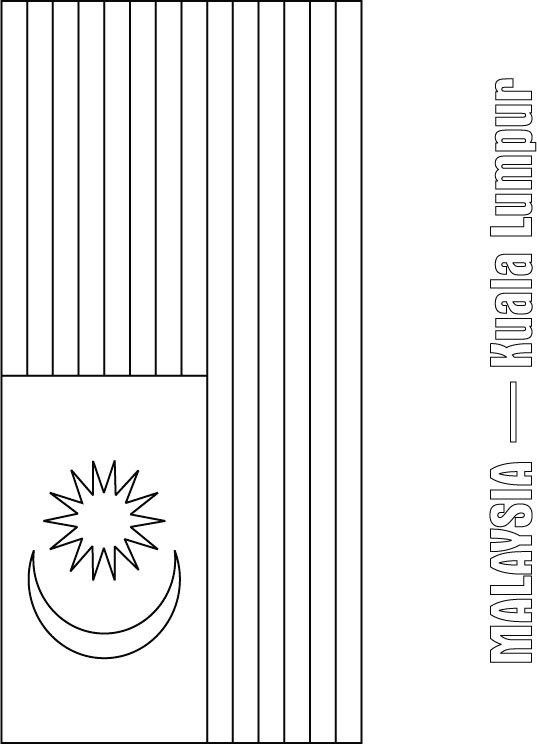 malaysia flag coloring page