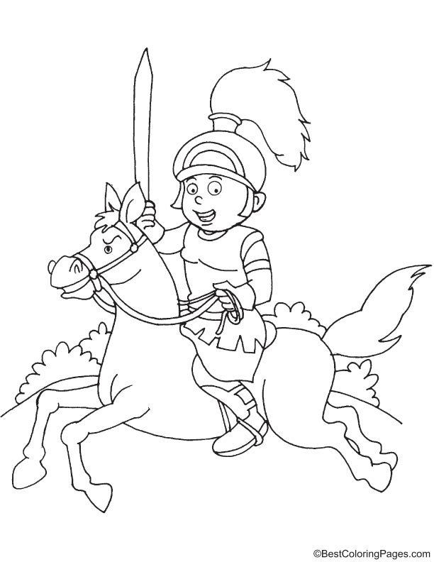 Medieval knight coloring page