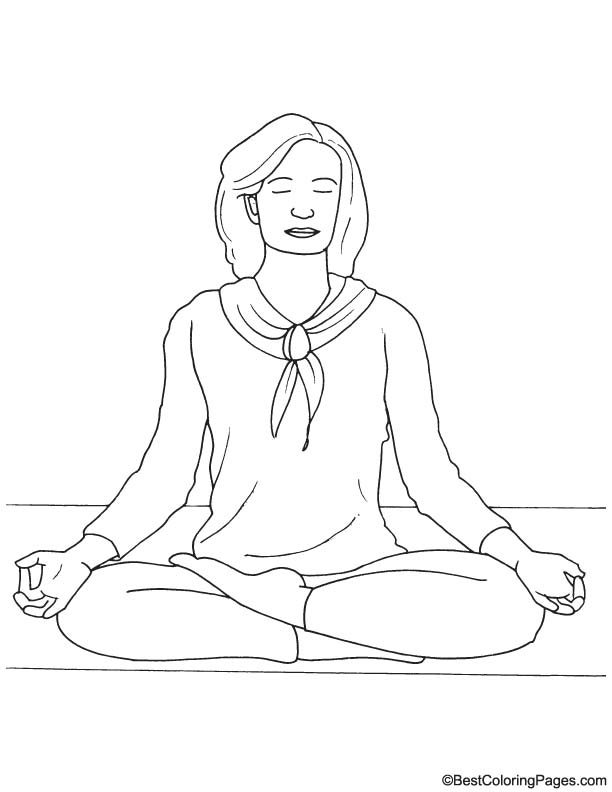 Meditation coloring page