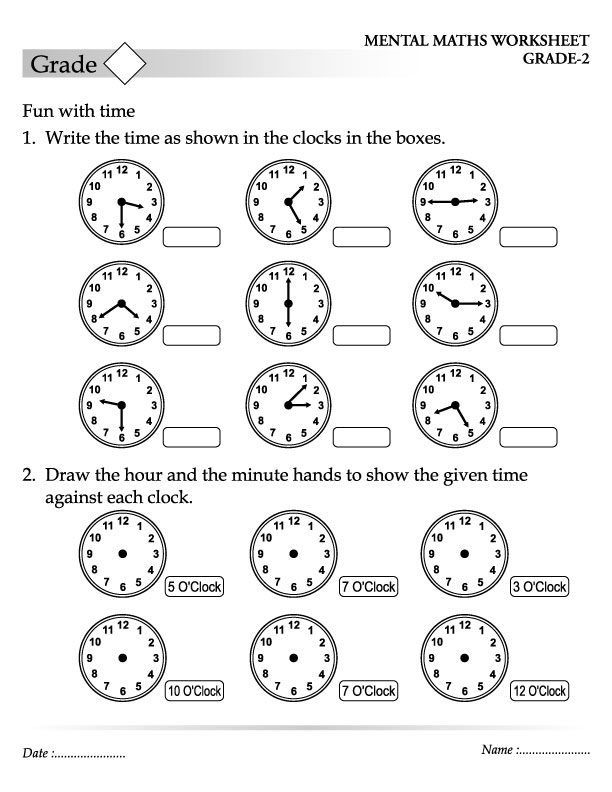 Write the time as shown in the clocks in the boxes