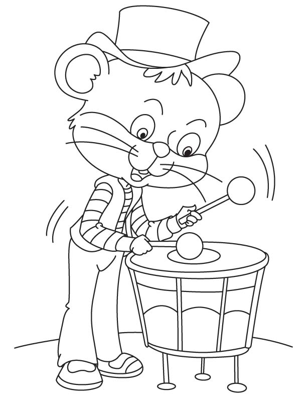 Meow drummer coloring page