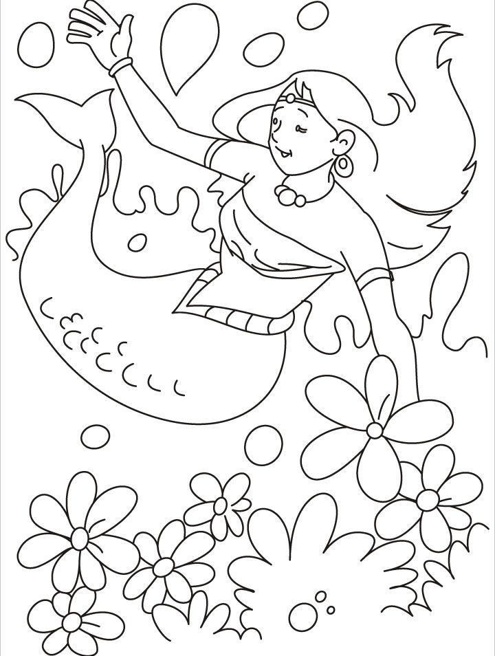Mermaid Under Water Coloring Page