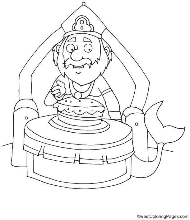 Merman celebrating birthday coloring page