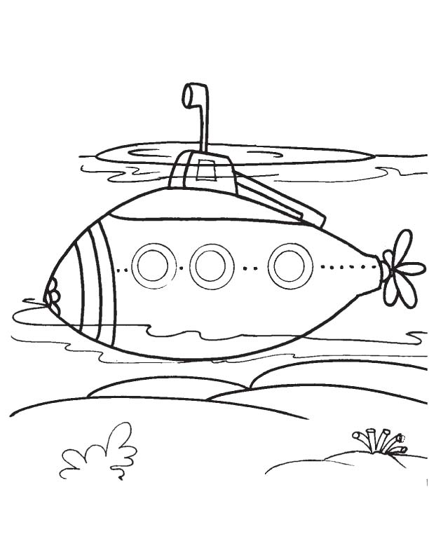 Modern submarine coloring page Download Free Modern submarine