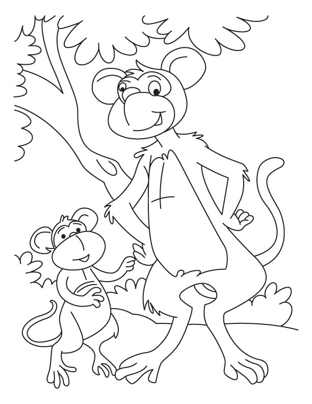 Baby monkey with monkey coloring pages
