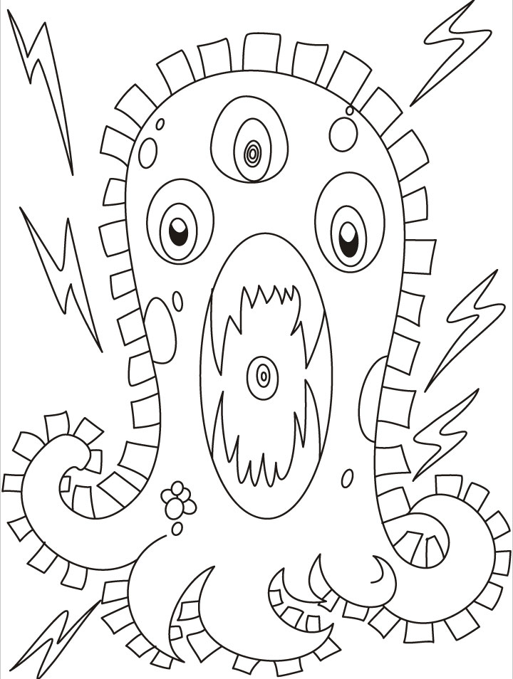 This monster is very furious full of electric current coloring