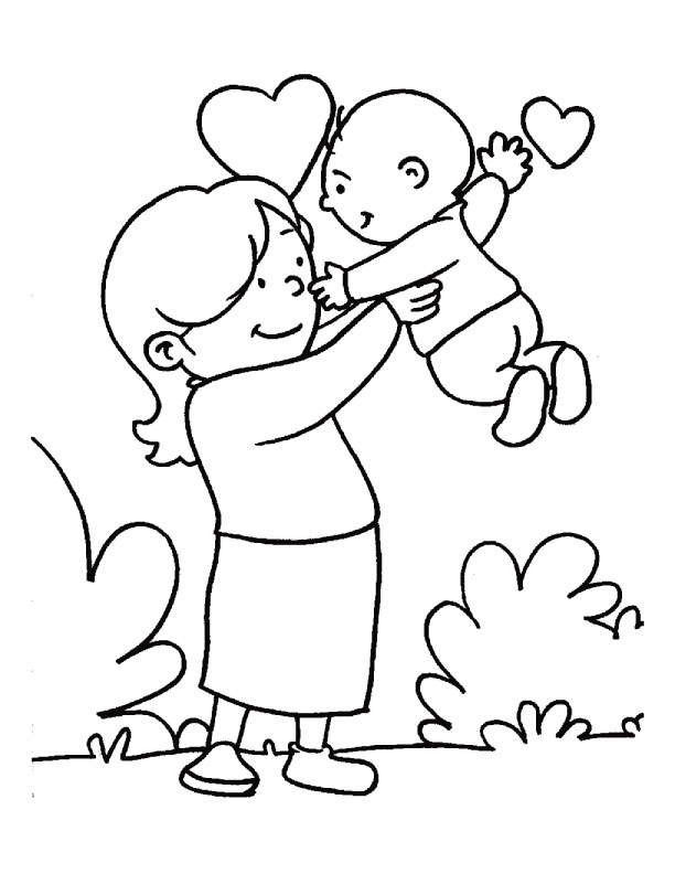 In the loving care of her mom coloring page download for Mom coloring pages