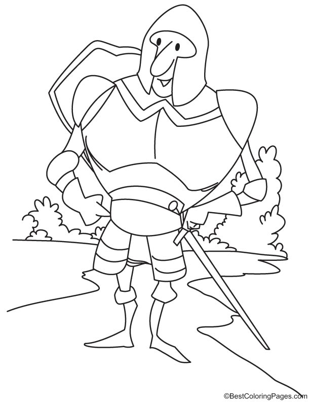 Mounted soldier in armor coloring page