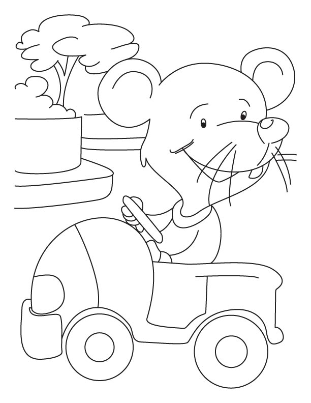 Mouse driving a car coloring pages
