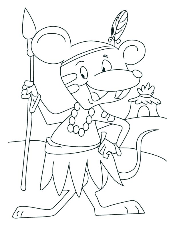 Mouse the tribesman coloring pages