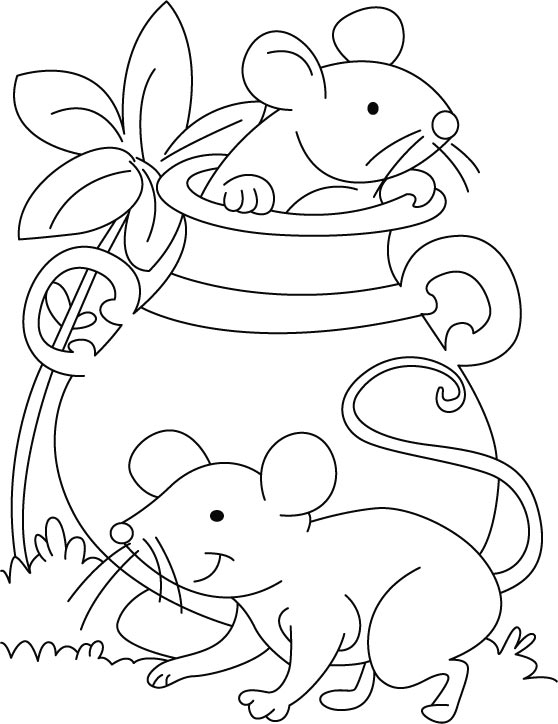 mouse playing hide n seek coloring pages