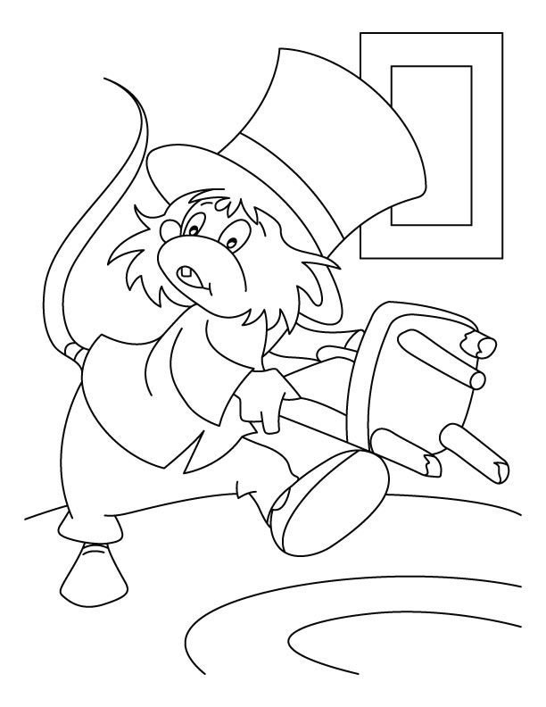 Mouse wearing uncle sams hat coloring pages