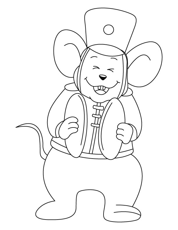 mouse playing cymbals coloring pages