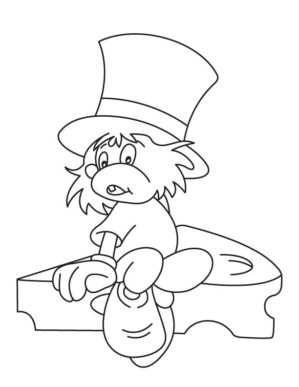 Mouse wearing a hat coloring page
