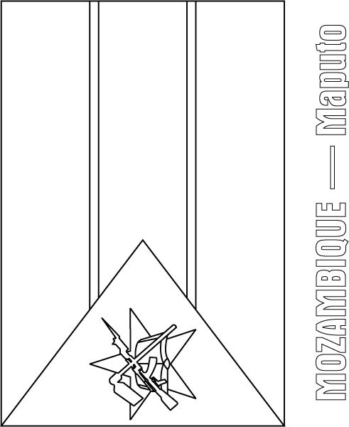 Mozambique Flag Coloring Page