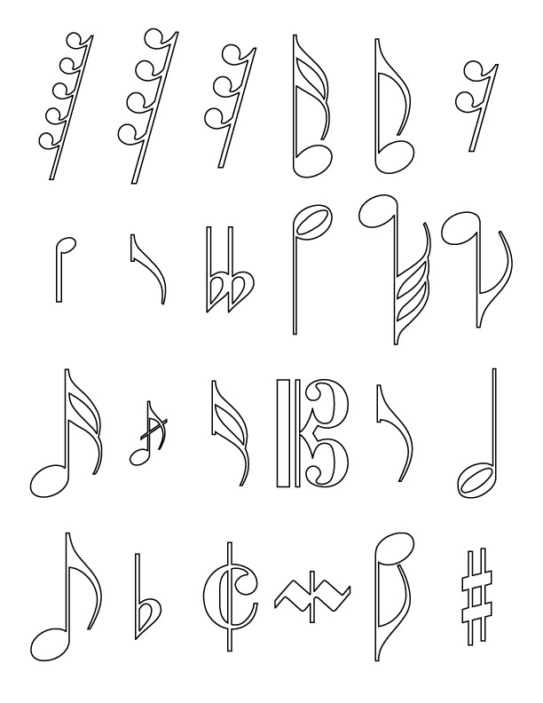 Musical note coloring page