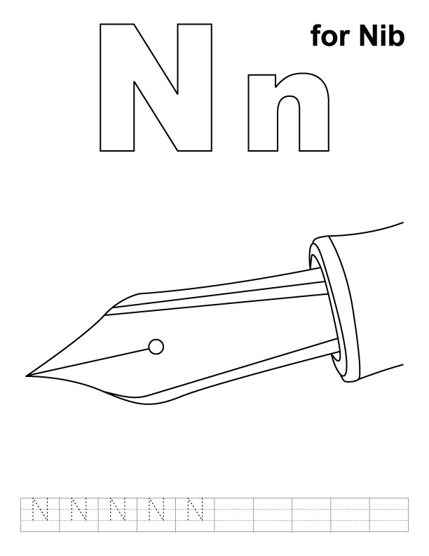 N for nib coloring page with handwriting practice