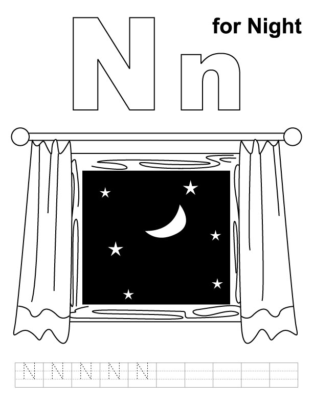 N for night coloring page with
