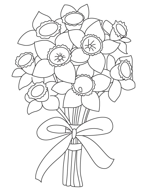 Narcissus bouquet coloring page