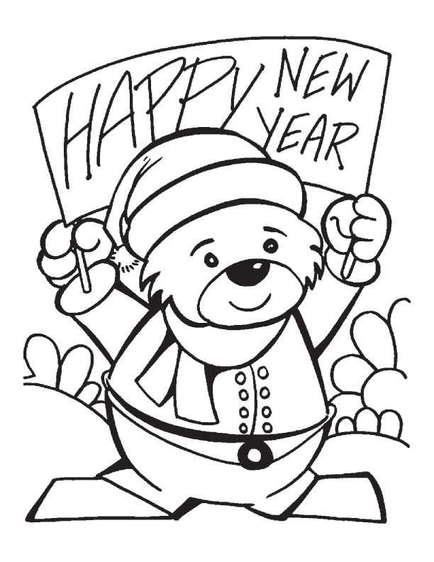 new year banner coloring pages