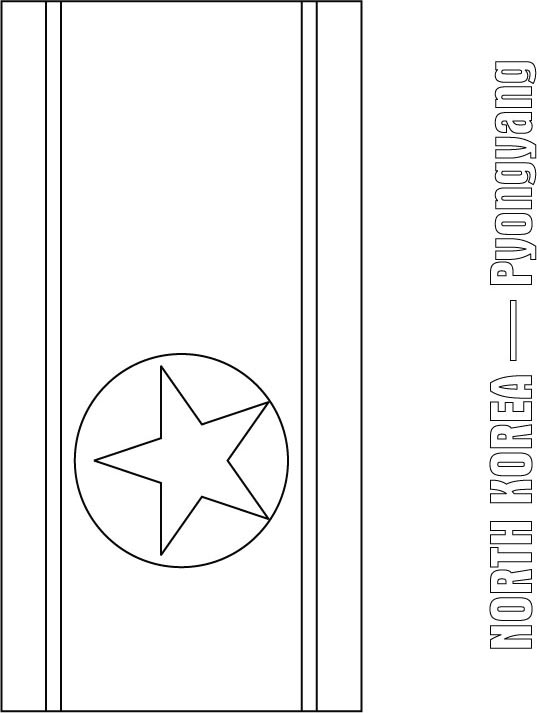 North Korea Flag Coloring Page