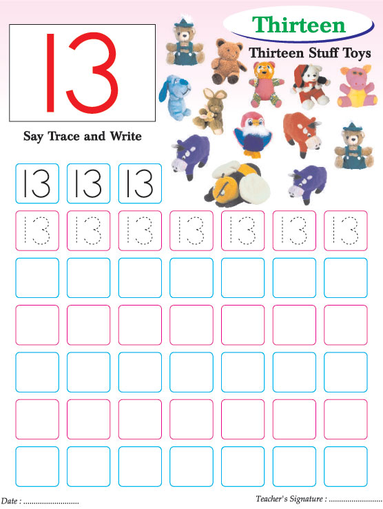 Numbers Writing Practice Worksheet 13 Page