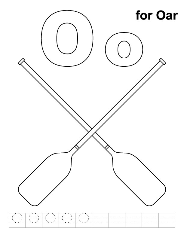 O for oars coloring page with handwriting practice