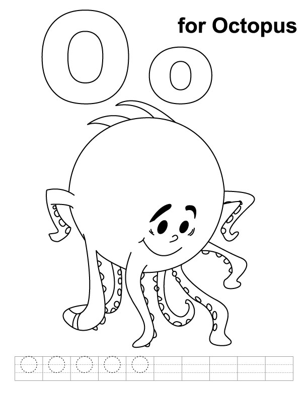 o is for octopus coloring pages - photo #5