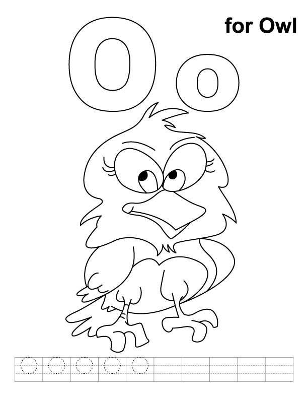 O for owl coloring page with handwriting practice