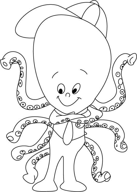 Cool boss-Octopus coloring pages