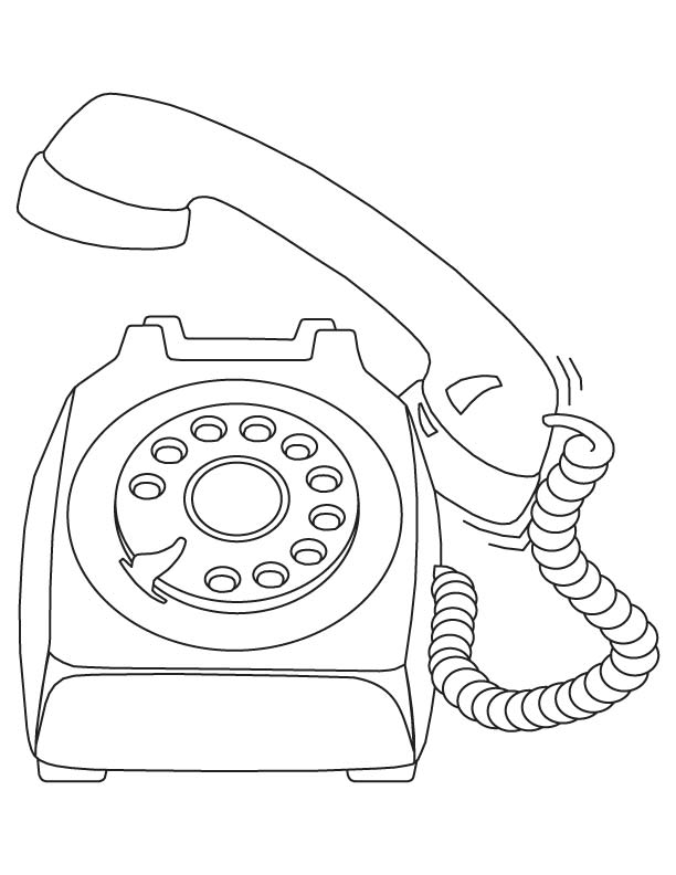 old telephone coloring page