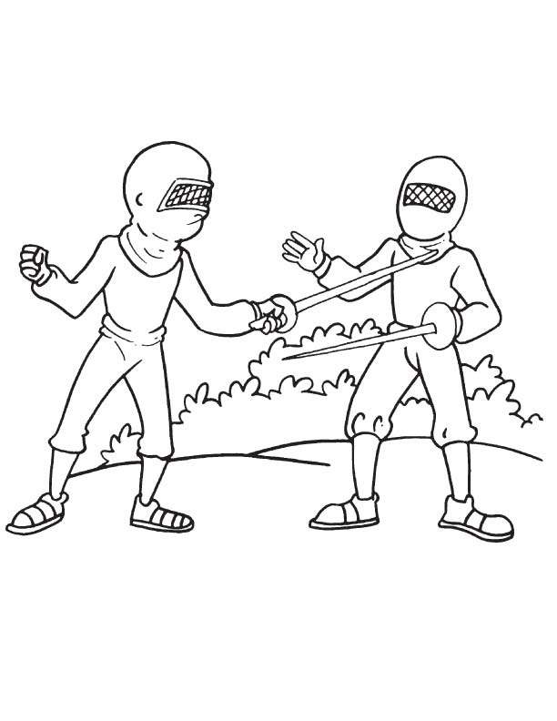 Olympic fencing coloring page