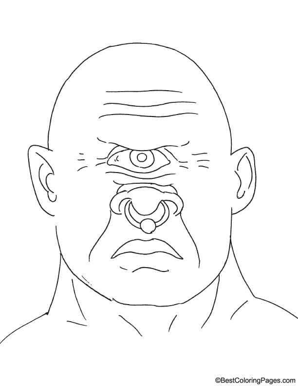 One eyed cyclops coloring page