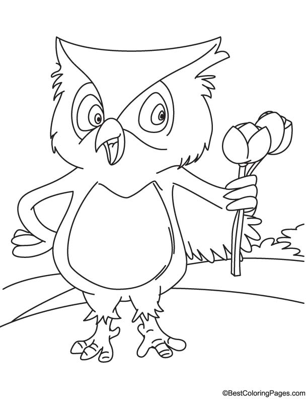 Owl holding tulip coloring page
