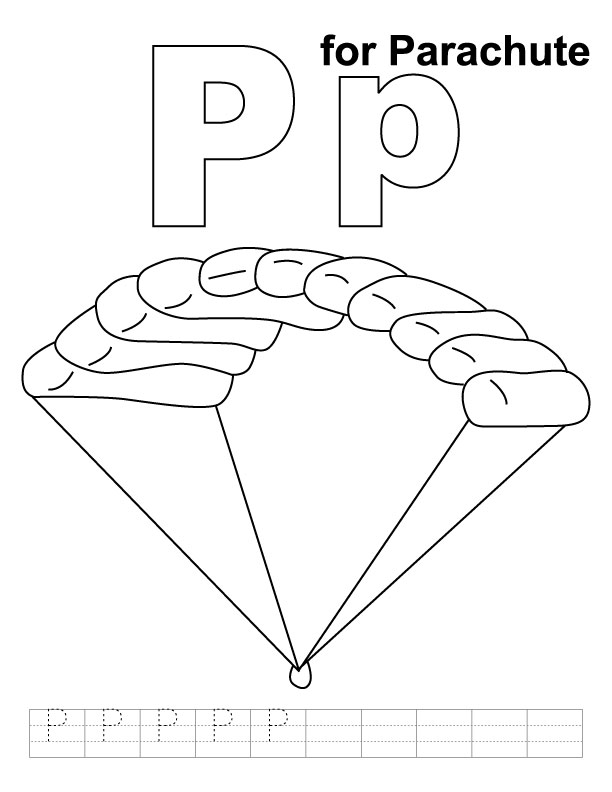 P for parachute coloring page with handwriting practice