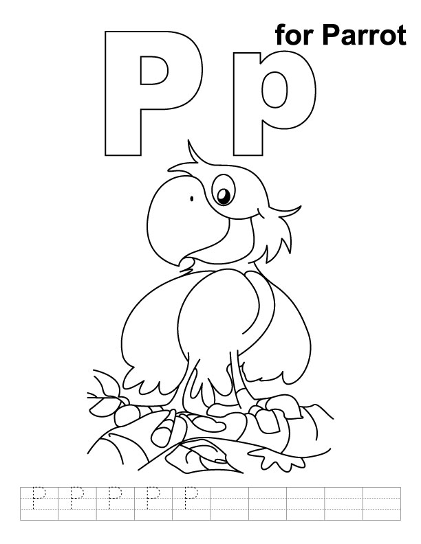 P for parrot coloring page with handwriting practice