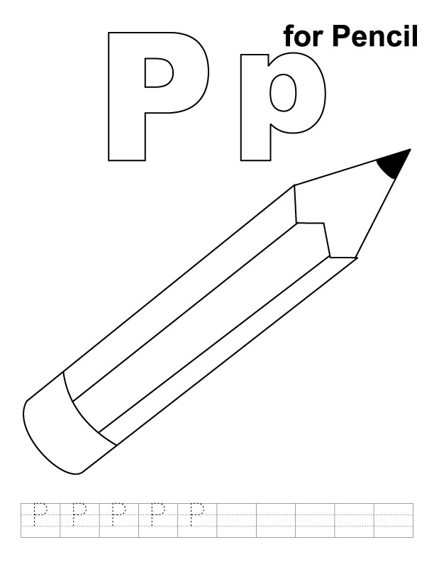 P for pencil coloring page with handwriting practice | Download ...